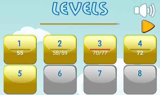 """""""Select level"""" screen of Flowers and Ladybug game"""