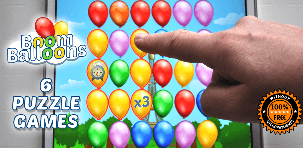 Boom Balloons - pop a ballon, a set of balloon games, match 3 in a line