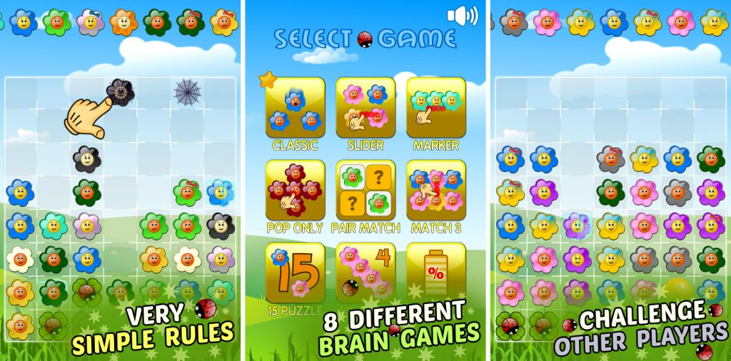 Flowers and Ladybug - match 3 style game