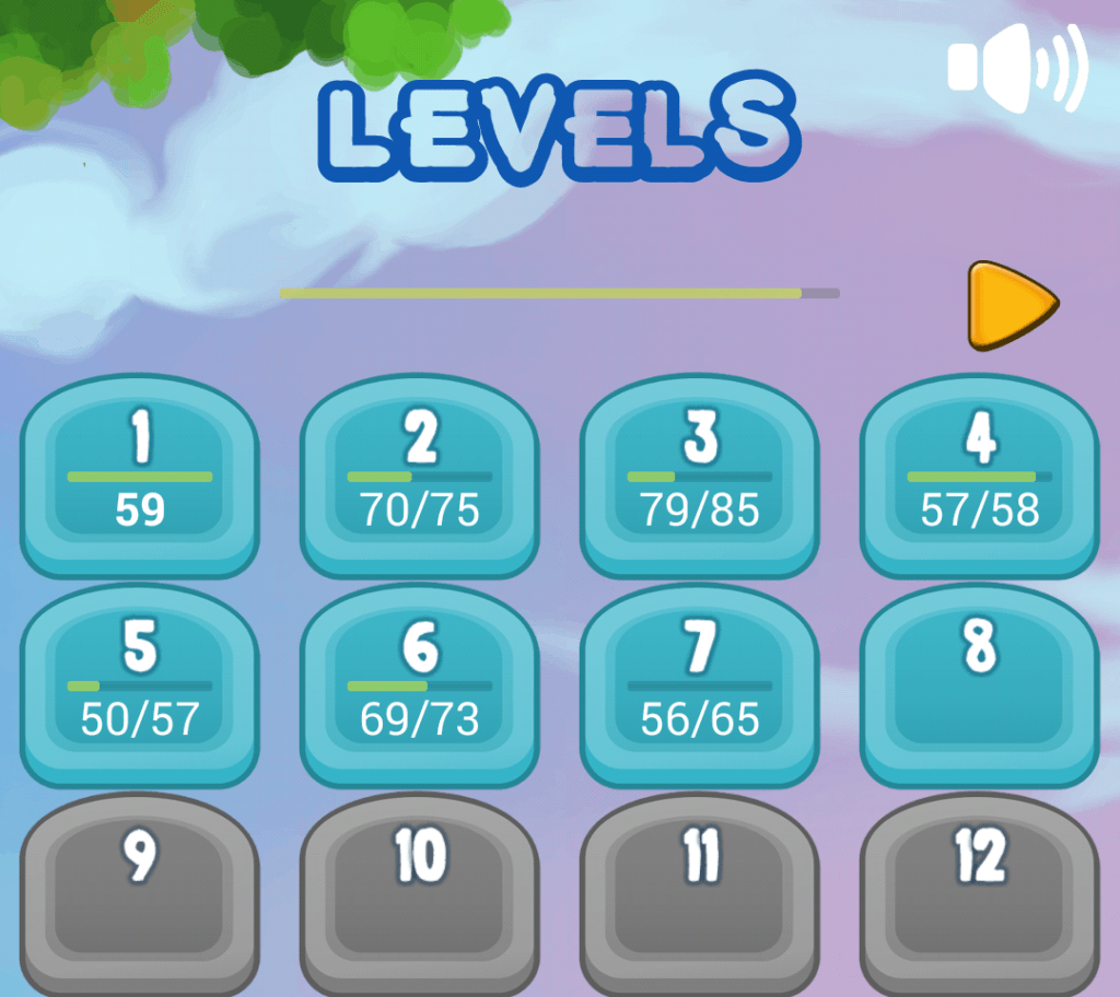 """Select level"" screen of New Elements game"