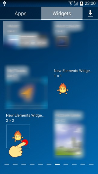 Step 3. Find New Elements Widget - tap and hold your finger on it.